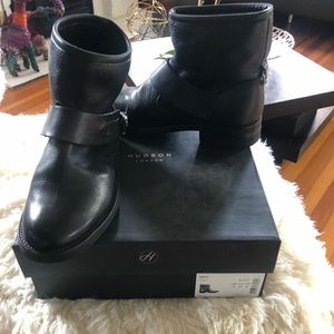 Leather Moto Buckle Boots